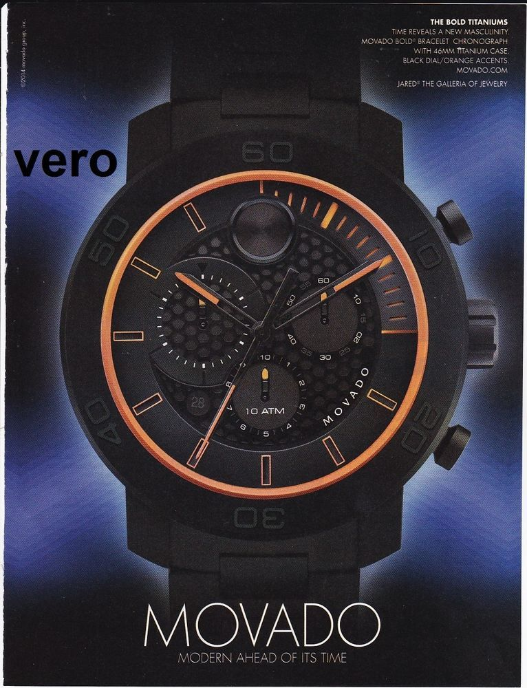 MOVADO 2014 watch magazine ad print page clipping advertisement BOLD