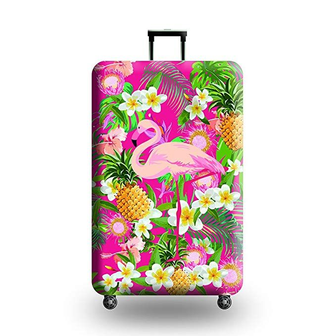Cute 3D Colorful Floral Pattern Luggage Protector Travel Luggage Cover Trolley Case Protective Cover Fits 18-32 Inch