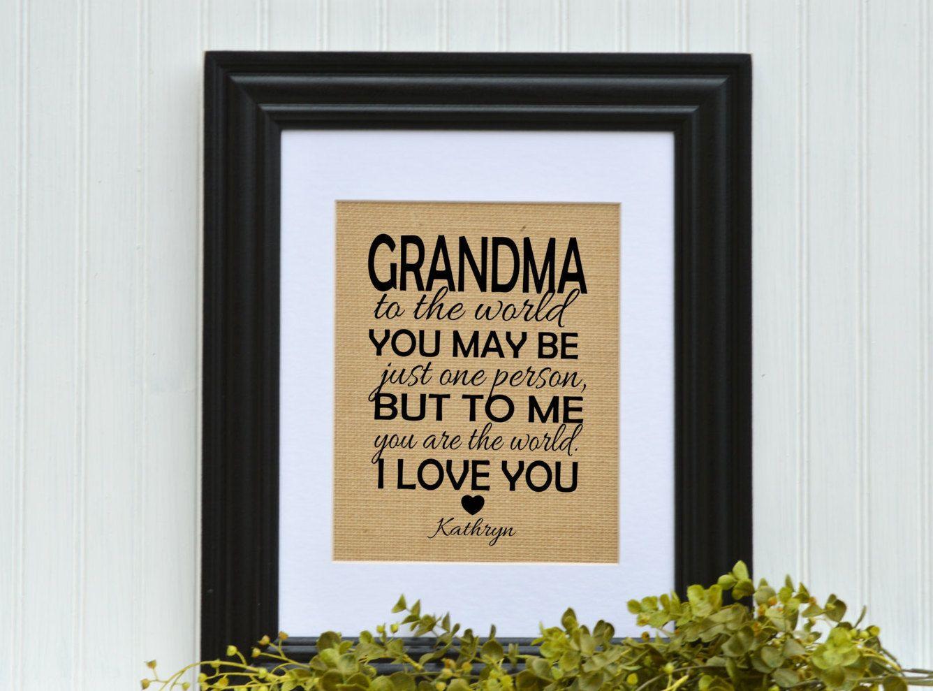 Framed Burlap Gift Grandmother Unique Idea Grandma Birthday