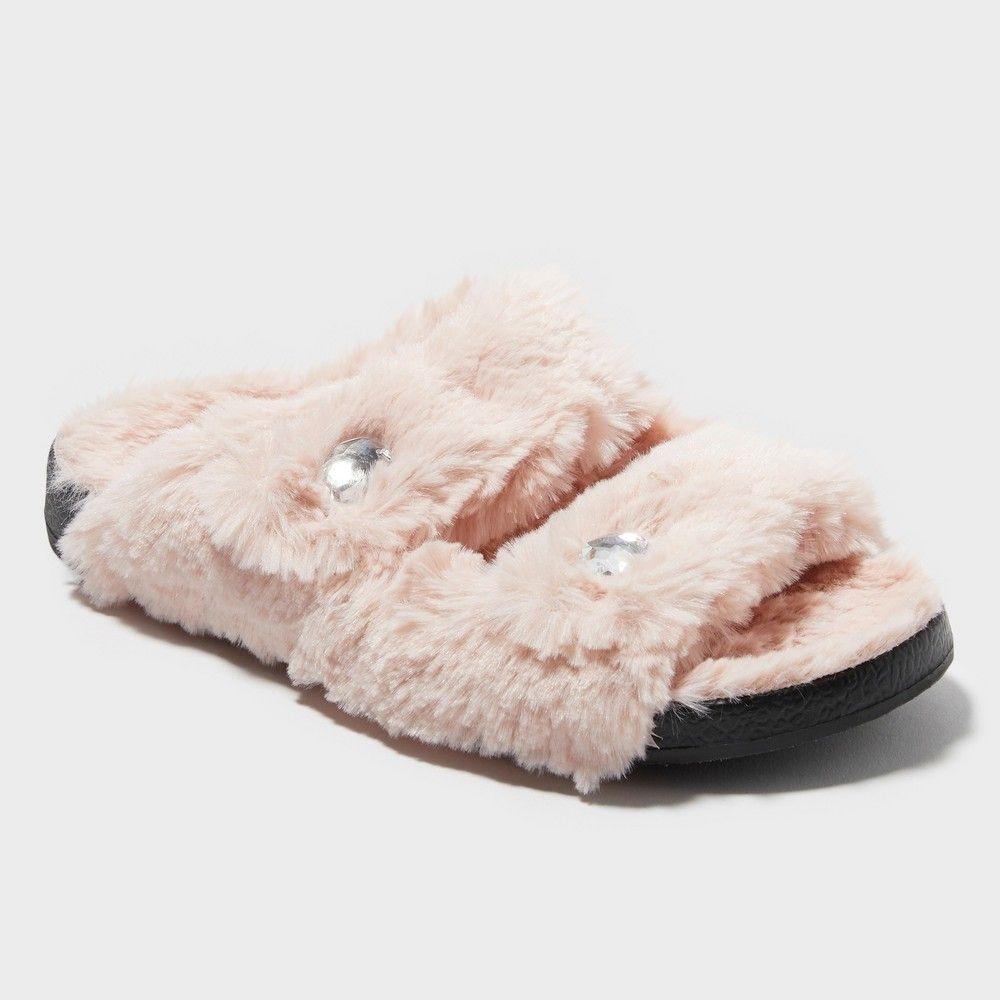 470a1464e2ca80 Women s Trista Double Strap Pile Slide Deluxe by Dearfoams - Pink L (9-10)