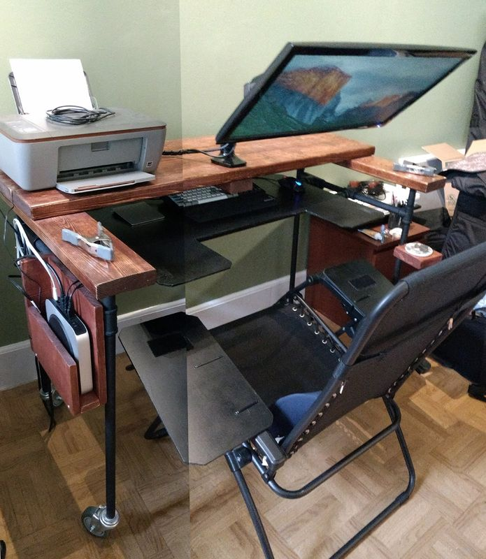 In My Continuous Search For The Ultimate Computer Workstation I Decided To Give A Reclining Desk A Try While I Love My Diy Computer Desk Ergonomic Desk Desk