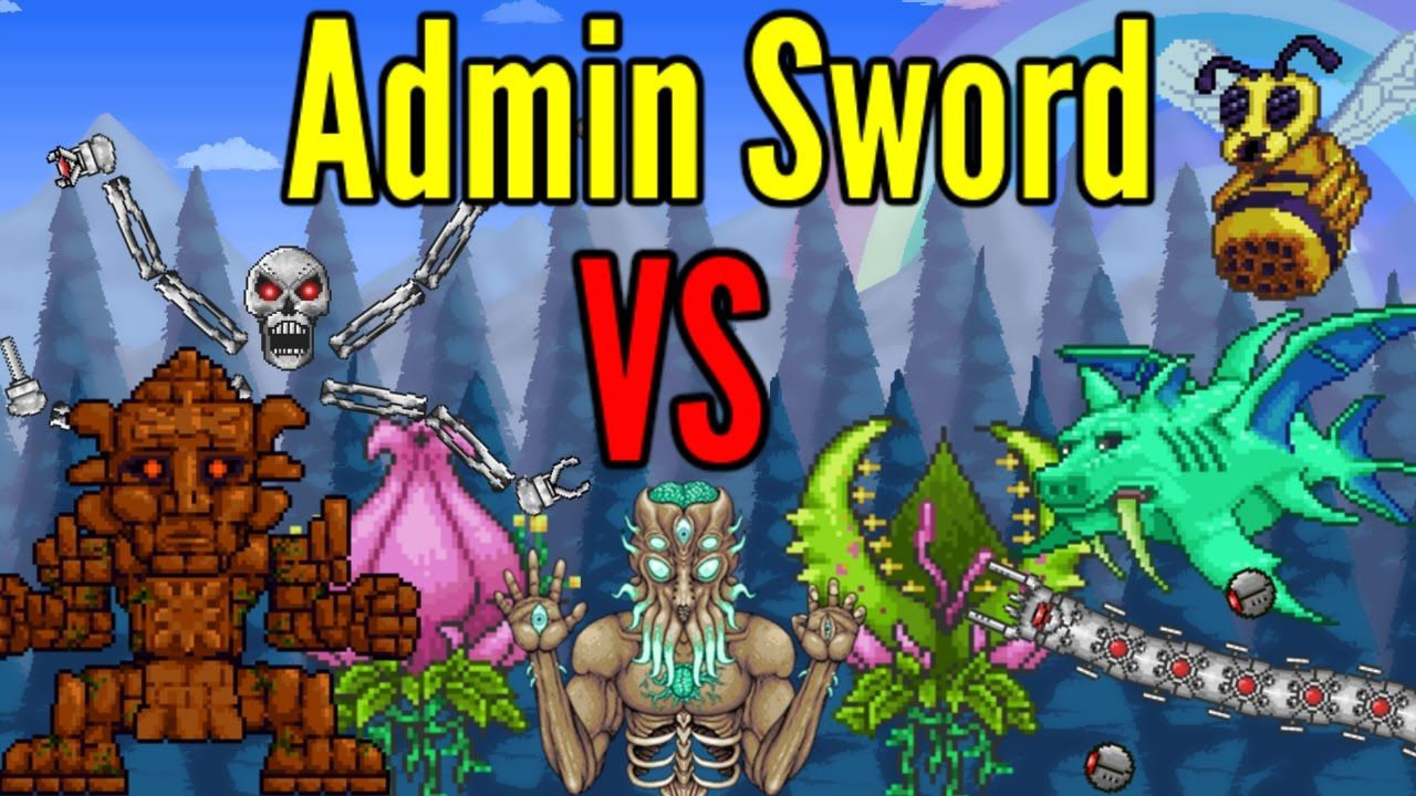 Terraria Admin Sword Vs All Bosses Including Modded Bosses Elder Scrolls Skyrim Terrarium Make It Yourself