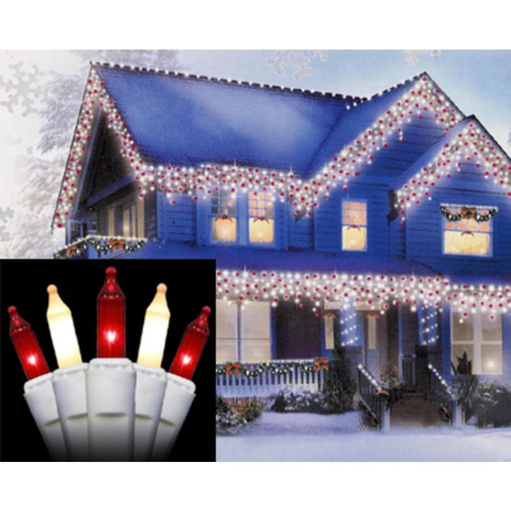 Sienna Set Of 100 Red And Frosted Clear Mini Icicle Christmas Lights White Wire Icicle Christmas Lights Led Icicle Christmas Lights Icicle Lights
