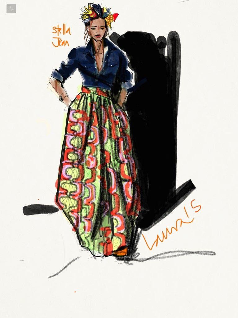 sketching african print fashion skirt  laura volpintesta  fashion illustration  stella jean
