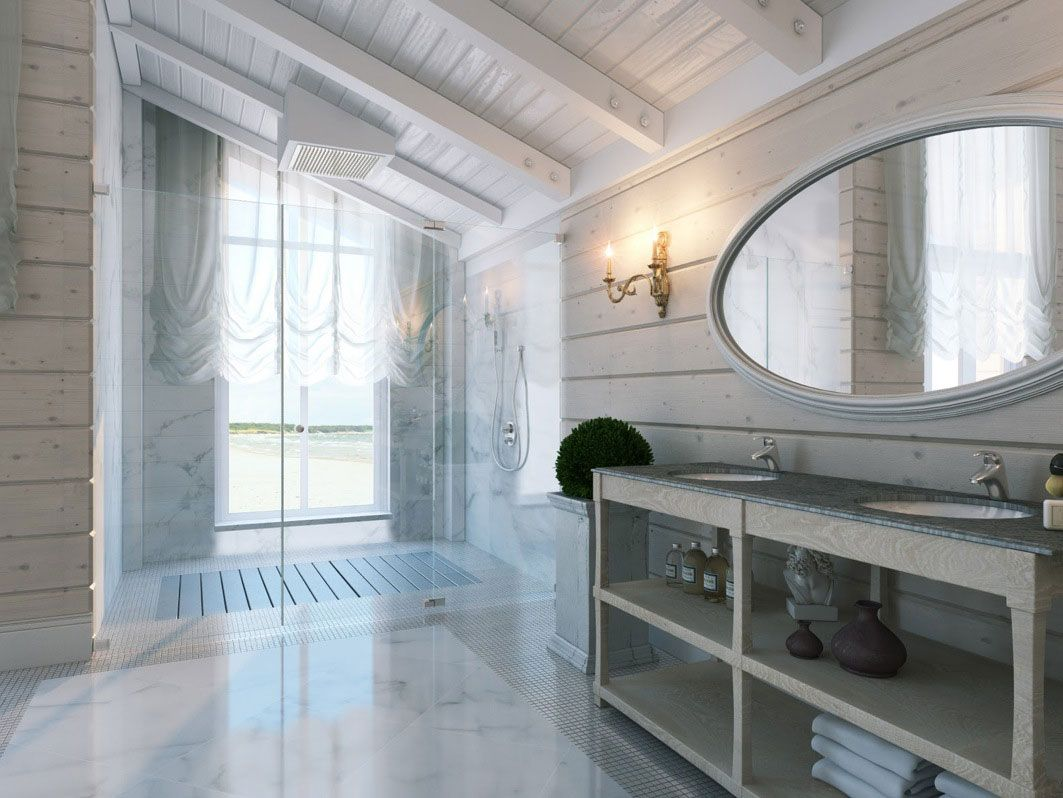 Amazing Shower And Sink White Bathroom With Sloping