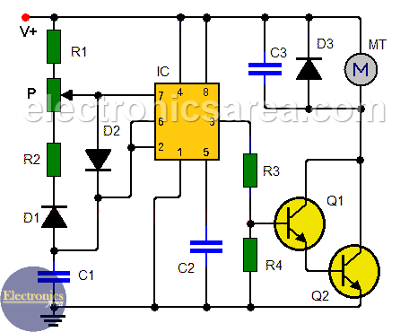 Dc Motor Speed Controller Circuit Using 555 Electronics Area Motor Speed Circuit Electronic Circuit Projects