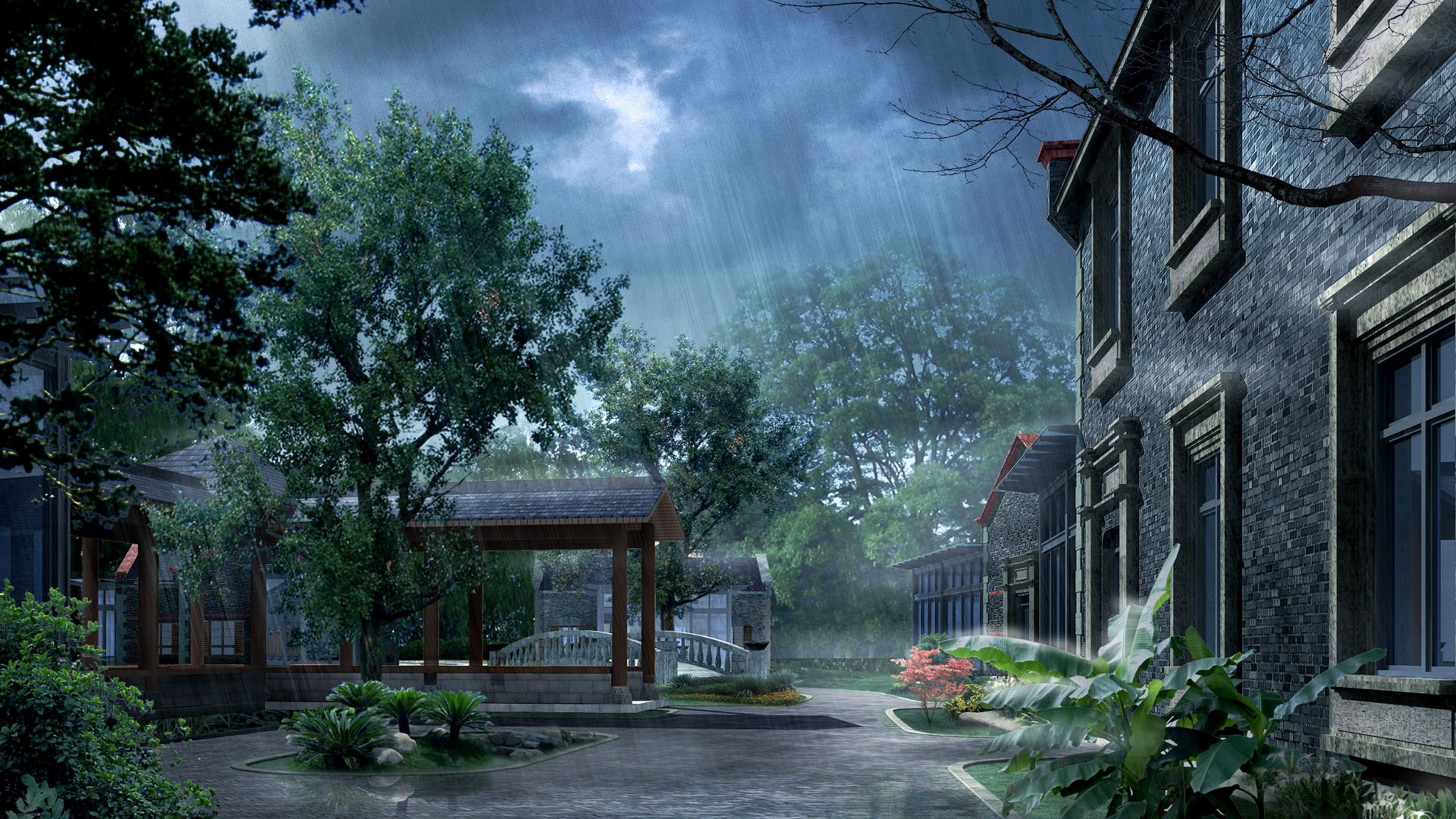 Rainy day in Japan 3d wallpaper download 3d desktop