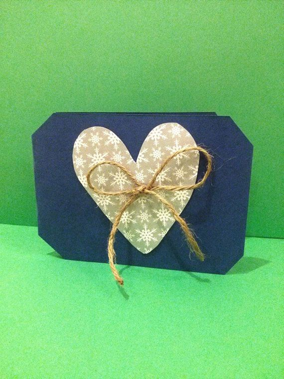 Snowflake bow and heart blank anniversary card by DareToDaret