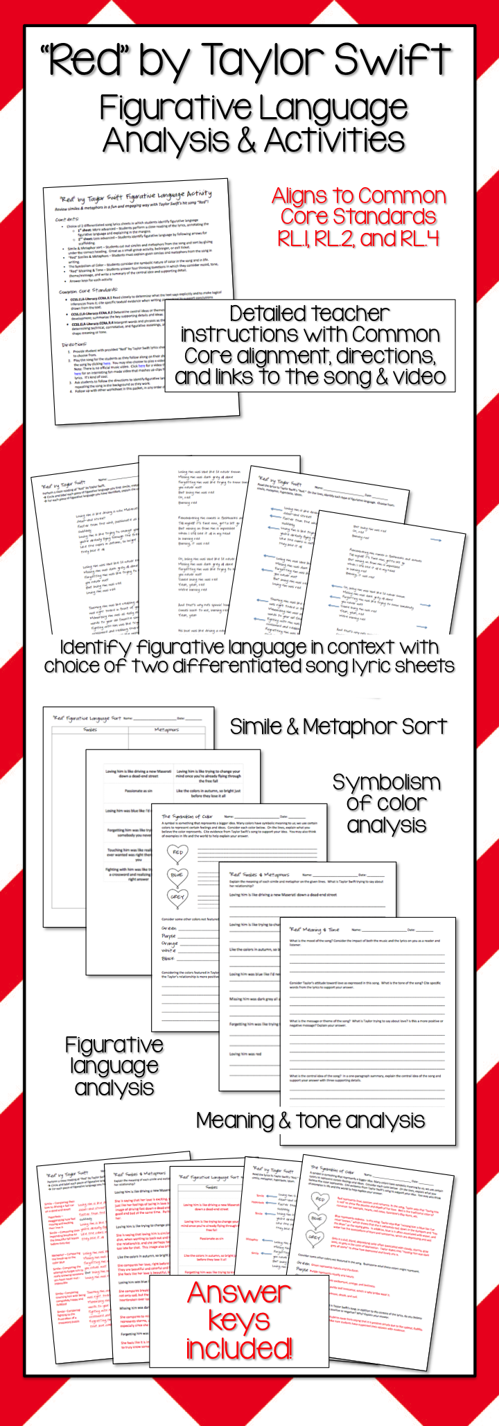 Red by Taylor Swift - Figurative Language Analysis & Activities ...