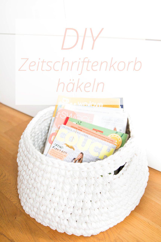 Zeitschriftenkorb Aus Zpagetti Garn Häkeln Pinterest