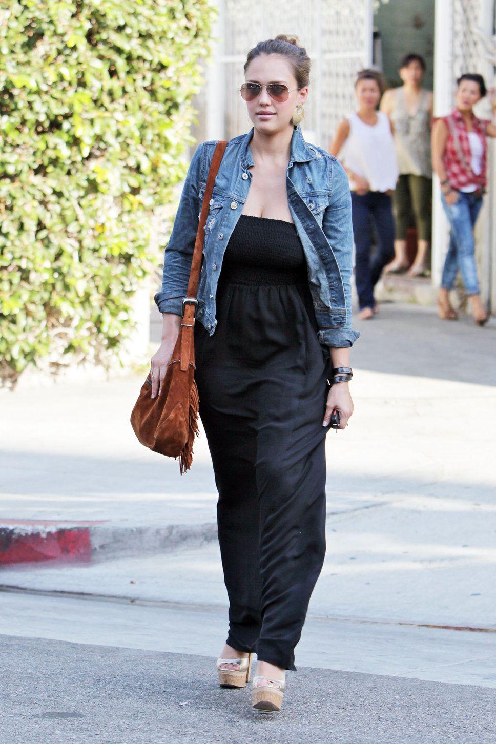 Jessica Alba In Denim Jacket Womens Maxi Dresses Fashion Dress With Jean Jacket [ 1452 x 968 Pixel ]