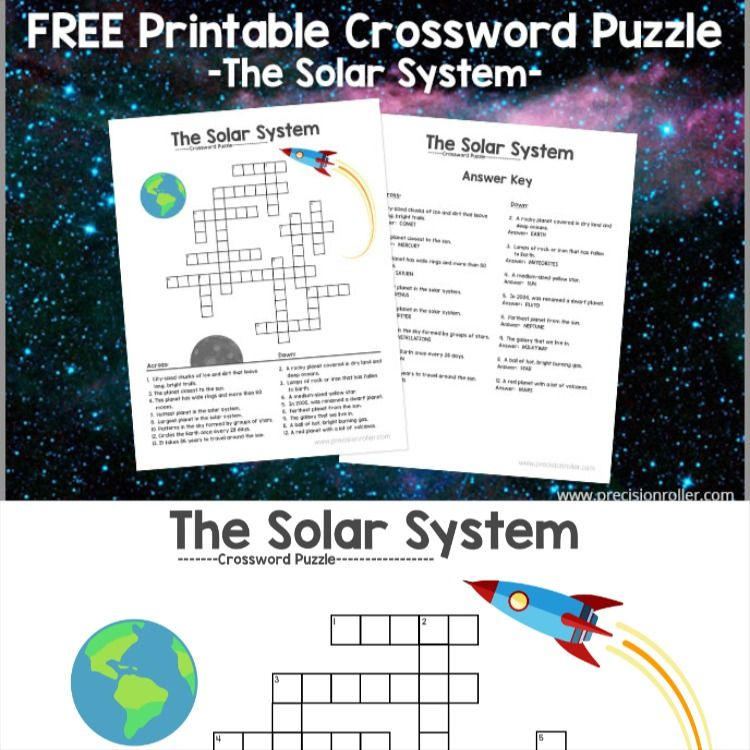 Free Printable Solar System Themed Crossword Puzzle Free Printable Crossword Puzzles Crossword Puzzle Solar System