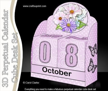 3D Spring Flowers Perpetual Calendar Desk Set 3d Decoupage on Craftsuprint designed by Carol Clarke - **NEW CONCEPT** 3D Perpetual Calendar Desk Set 3d DecoupageThe gift that never goes out of date!Desk Calendar with:-Months BoxesDay Date CubesDecorated matching Desk StandStep by Step DecoupageGreetings SentimentsA fantastic 3D Perpetual Calendar Cube Desk Set that is so easy to make but will WOW the recipient. A great gift that lasts the whole year round - year after year! No need to buy a…