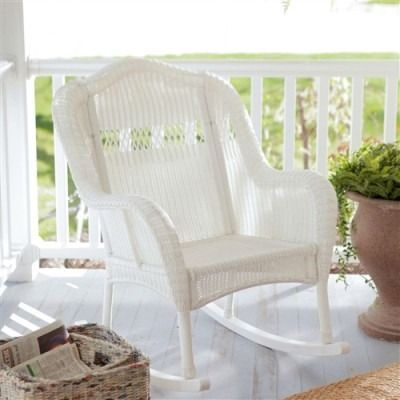 Indoor/Outdoor Patio Porch White Resin Wicker Rocking Chair  Free Shipping
