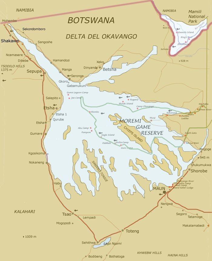 Map of Okavango Delta (Botswana) | not all who wander are lost