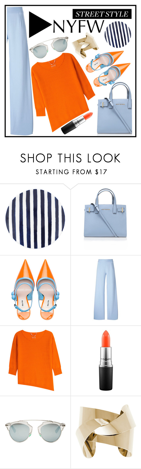 """NYFW"" by misskarolina ❤ liked on Polyvore featuring Kate Spade, Kurt Geiger, Miu Miu, Christopher Kane, 81 Hours, MAC Cosmetics and Christian Dior"