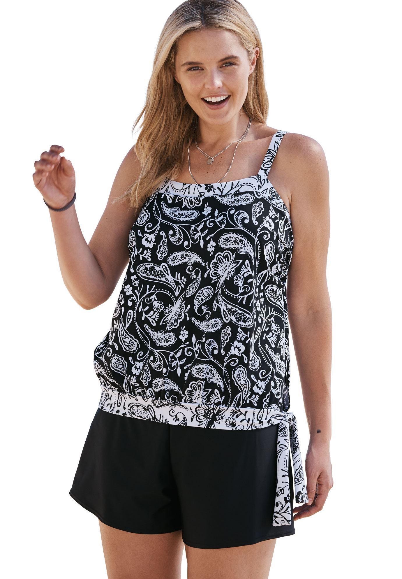 e01ffa1b8bc Side-tie  tankini top with blouson by Swim 365 - Women s Plus Size Clothing