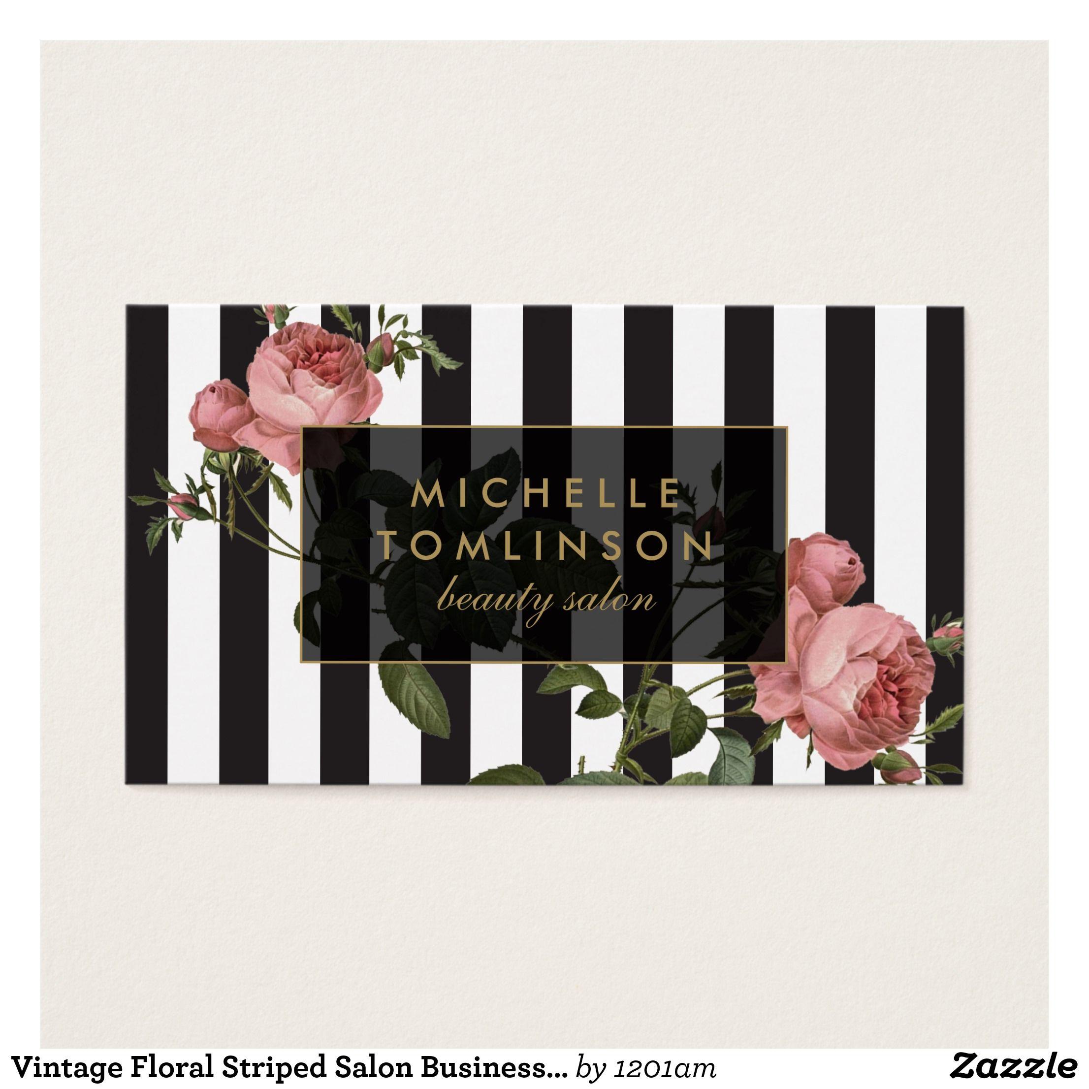 vintage floral striped salon business card визитки