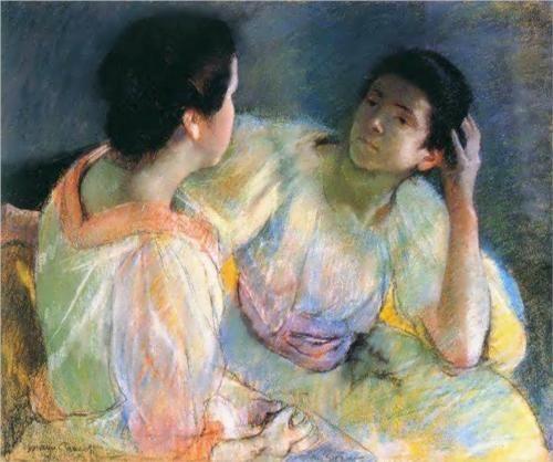 """The Conversation"" by artist Mary Cassatt, 1896."