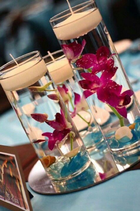 Pin de Joyce Khury en Decoração Pinterest Velas, Centros de mesa - centros de mesa para boda con velas flotantes