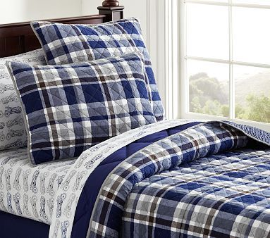 Charlie Plaid Quilted Bedding | *♧* Just Boys Bedrooms ... : boys plaid quilt bedding - Adamdwight.com