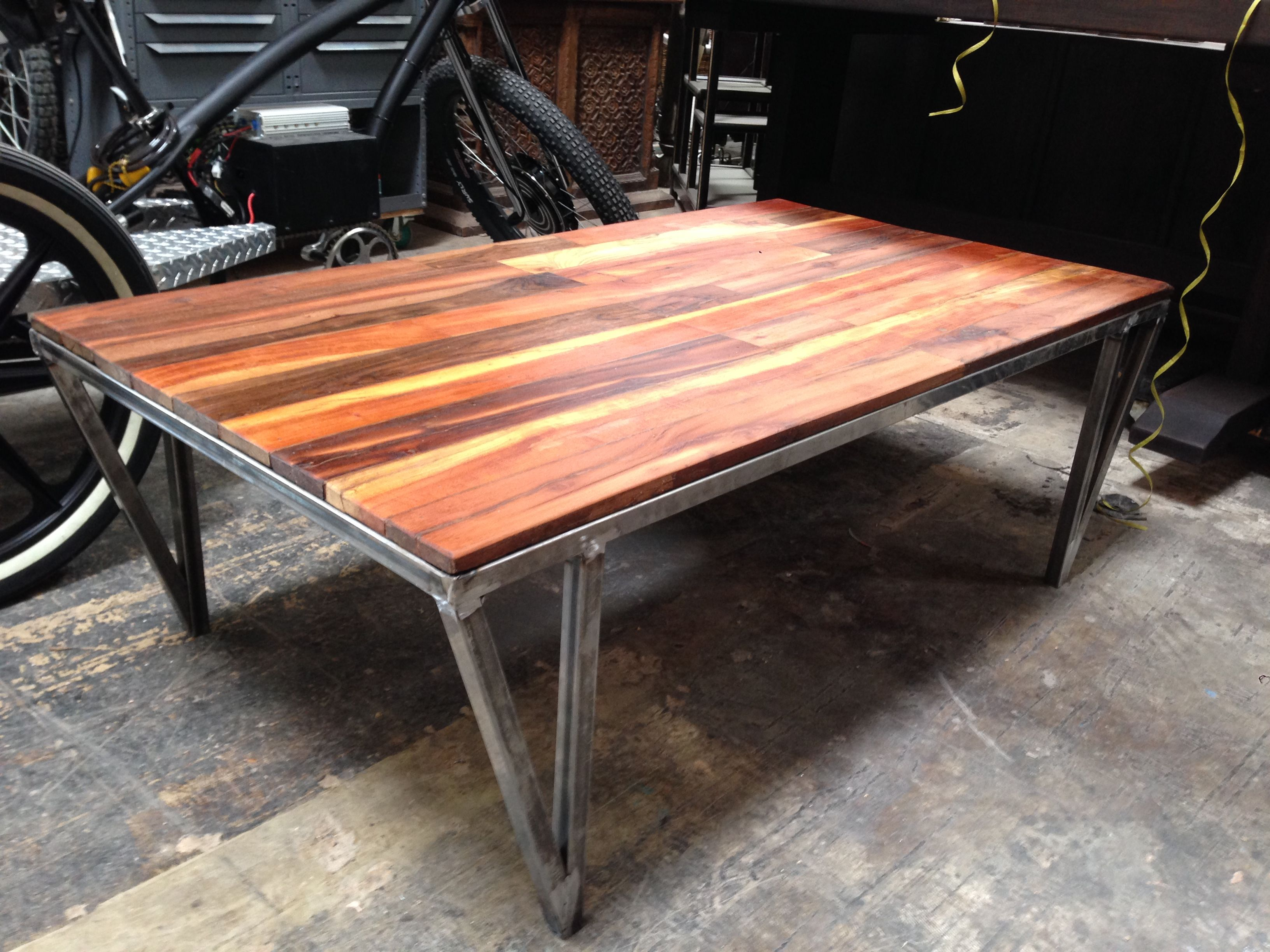 Enchanting Brown Varnished Reclaimed Wood Coffee Table With Iron