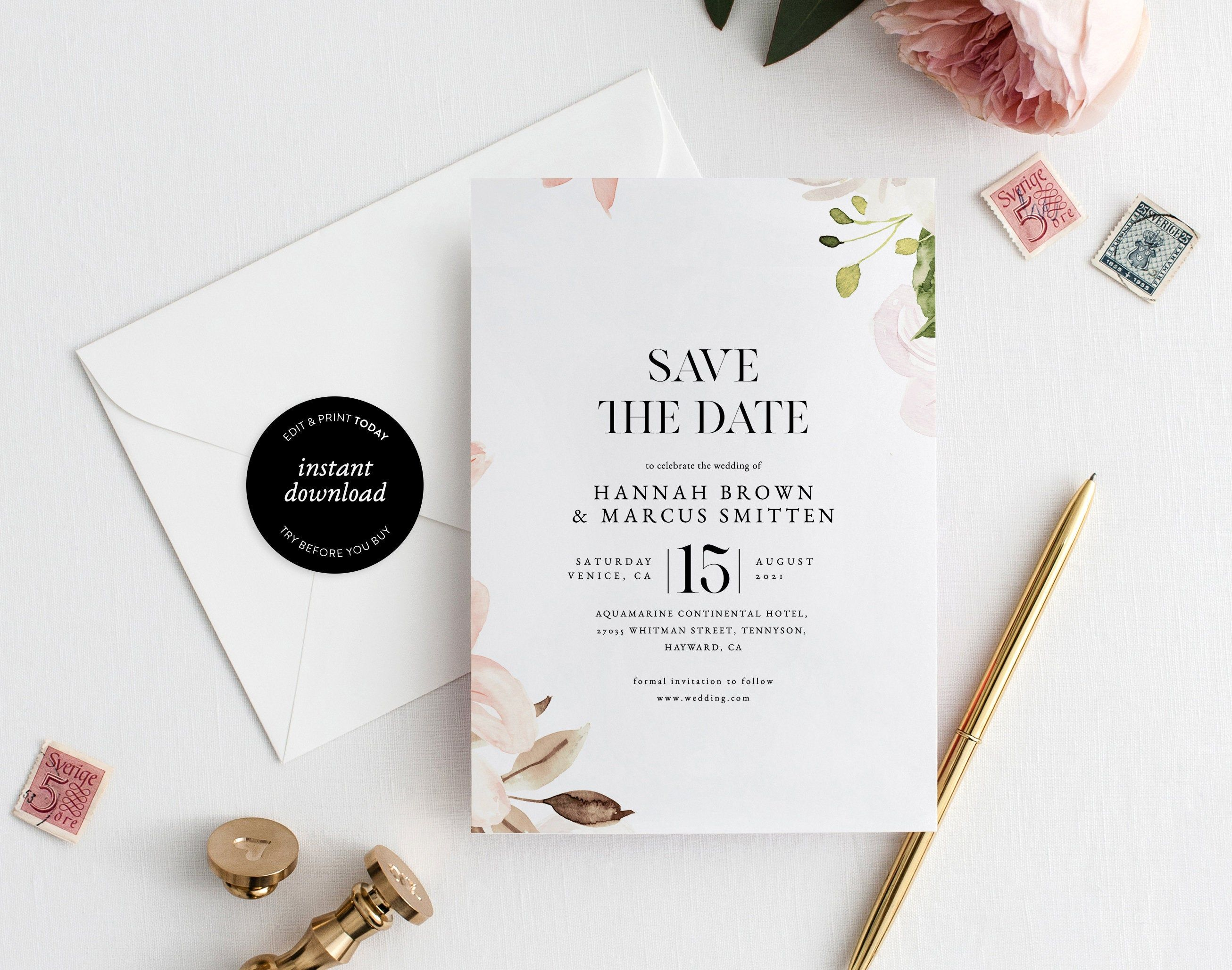 Minimal Watercolor Save The Date Template 100 Editable And Etsy Wedding Announcements Templates Save The Date Templates Save The Date