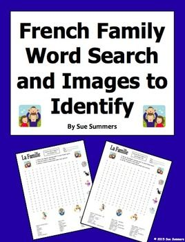 French Family and Pets Word Search Puzzle, Image IDs, and Vocabulary by Sue Summers