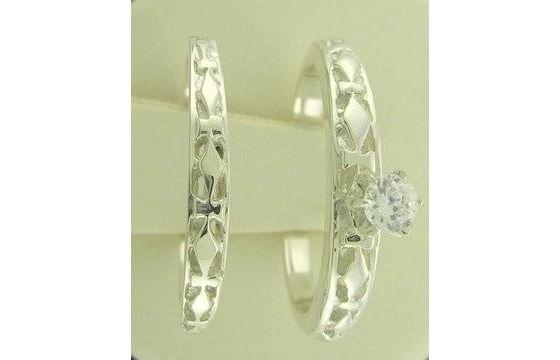 New Genuine Diamond Engagement Ring Matching Wedding Ring Set Silver Size 7 $96.00