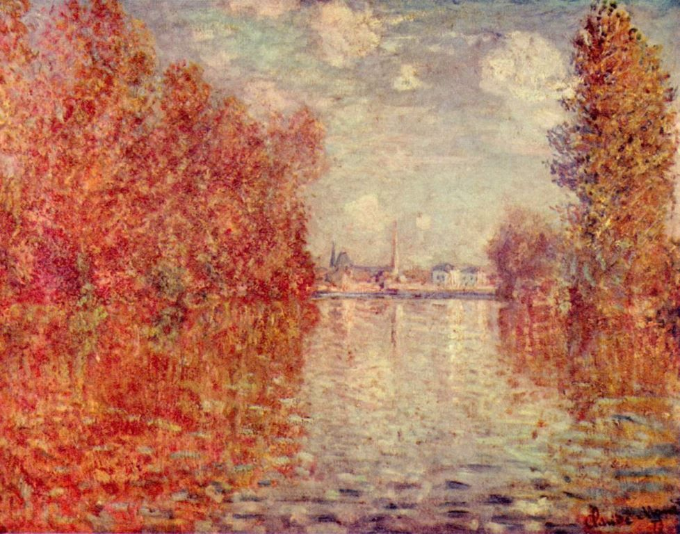 Landschaftsmalerei impressionismus  Claude Monet. Herbst in Argenteuil. 1873, Öl auf Leinwand, 56 × 75 ...