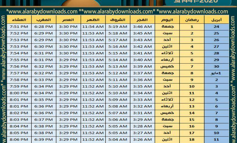 بالصور جدول تقويم إمساكية شهر رمضان 2020 في جميع الدول امساكية رمضان 2020 Periodic Table