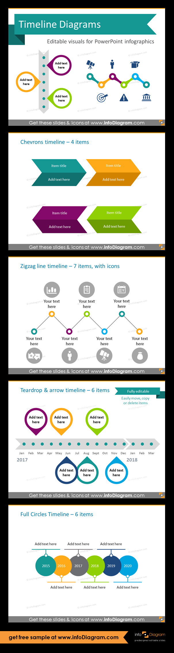 Timeline Diagram Infographics Flat Ppt Template Create Process Flow With Slides For Diagrams And Time Editable Powerpoint Graphics Showing History Agenda Linear Charts