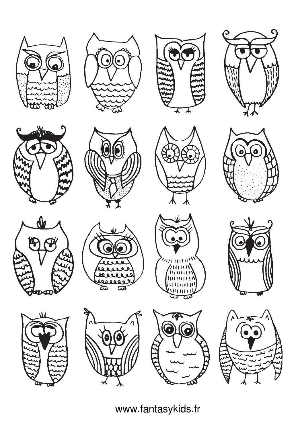 Coloriage chouettes et hiboux coloring pages for adults printables and freebies pinterest - Dessin colorier ...