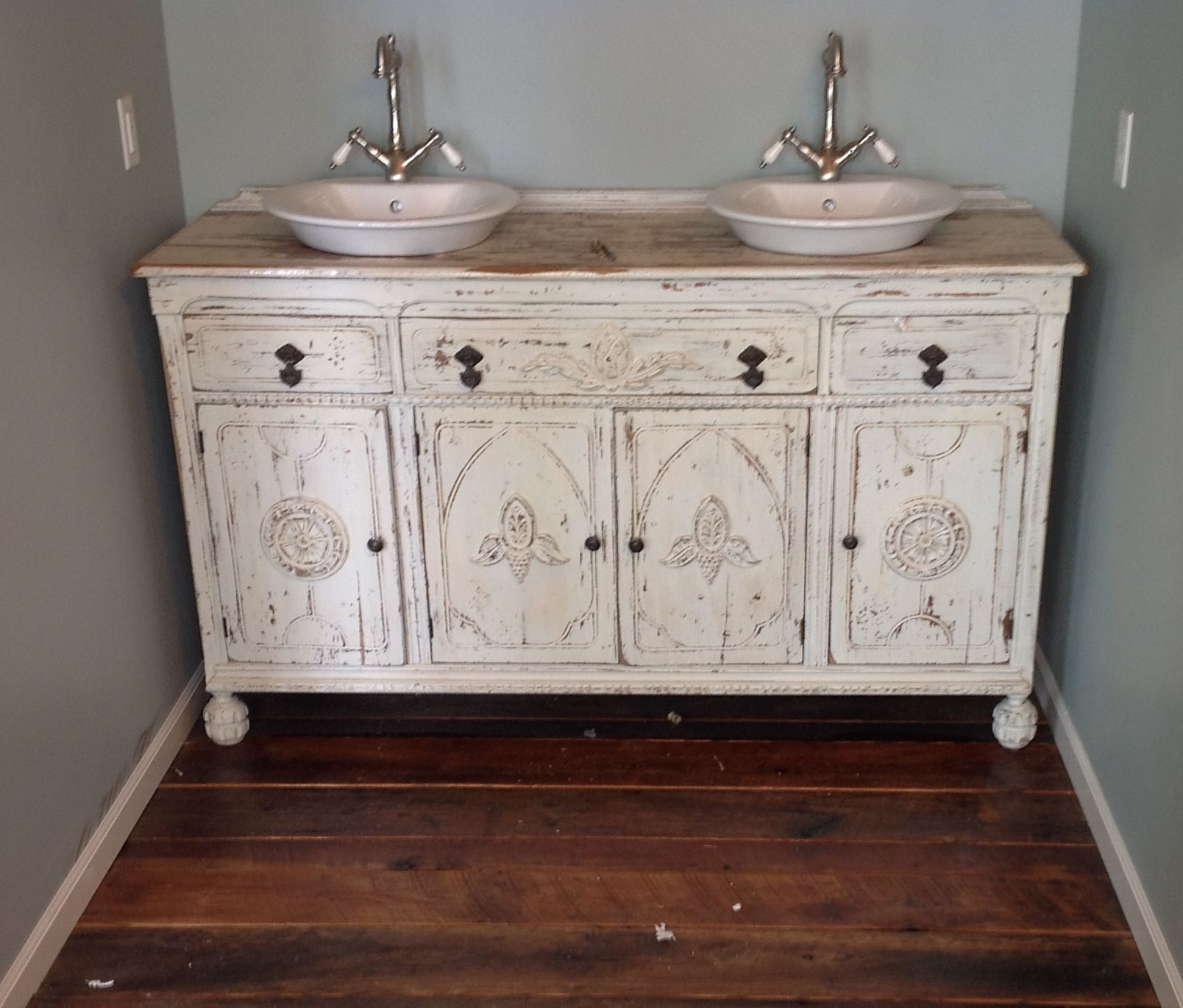 Gallery For Website Painted shabby chic repurposed bathroom sink vanity Repurposed from an old antique buffet cabinet