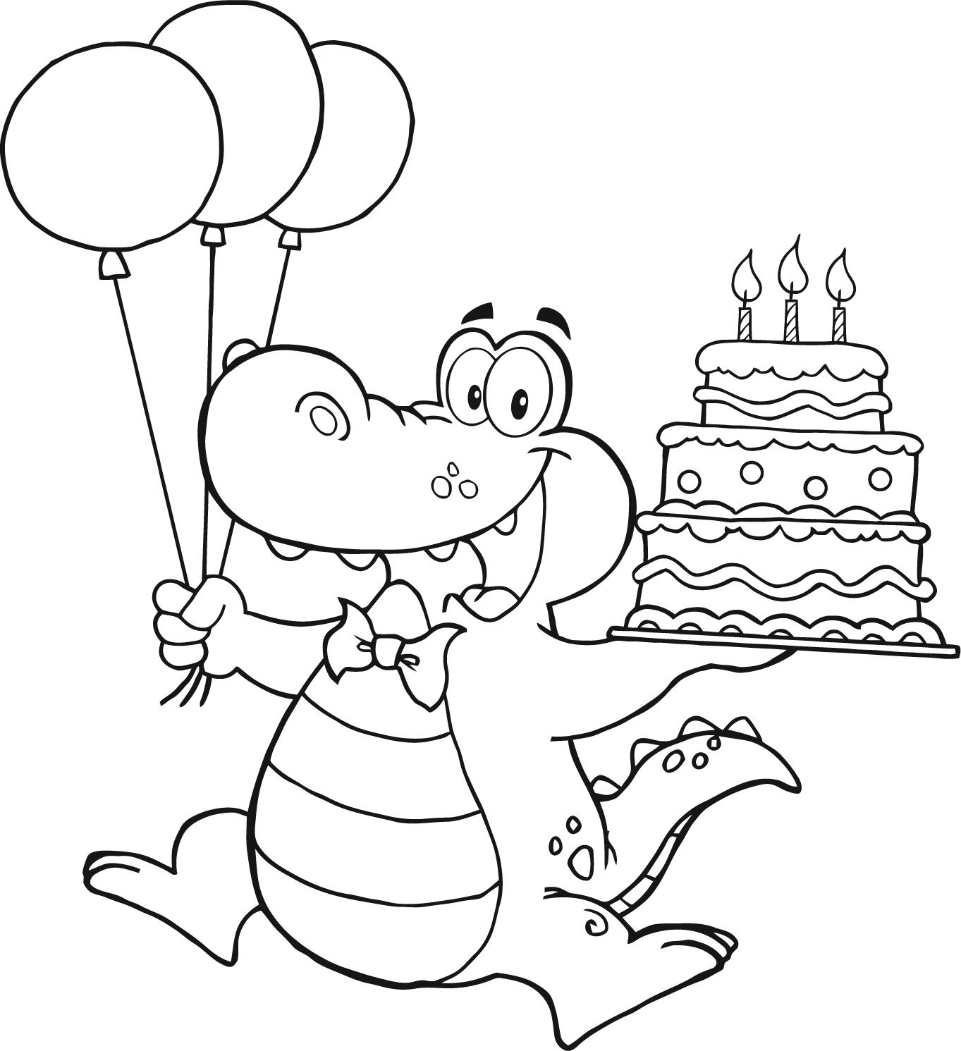 alligator holding birthday cake for kids | coloring pages ...