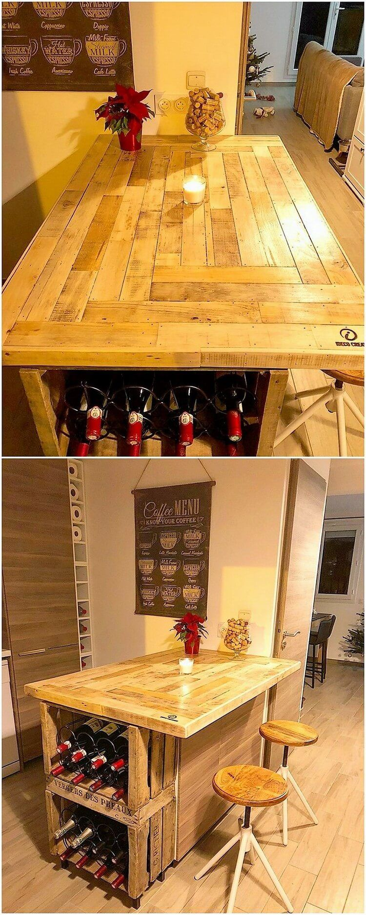 Fresh Ideas For Old Wood Pallets Recycling Kitchen Bar Table Bar Table Diy Table