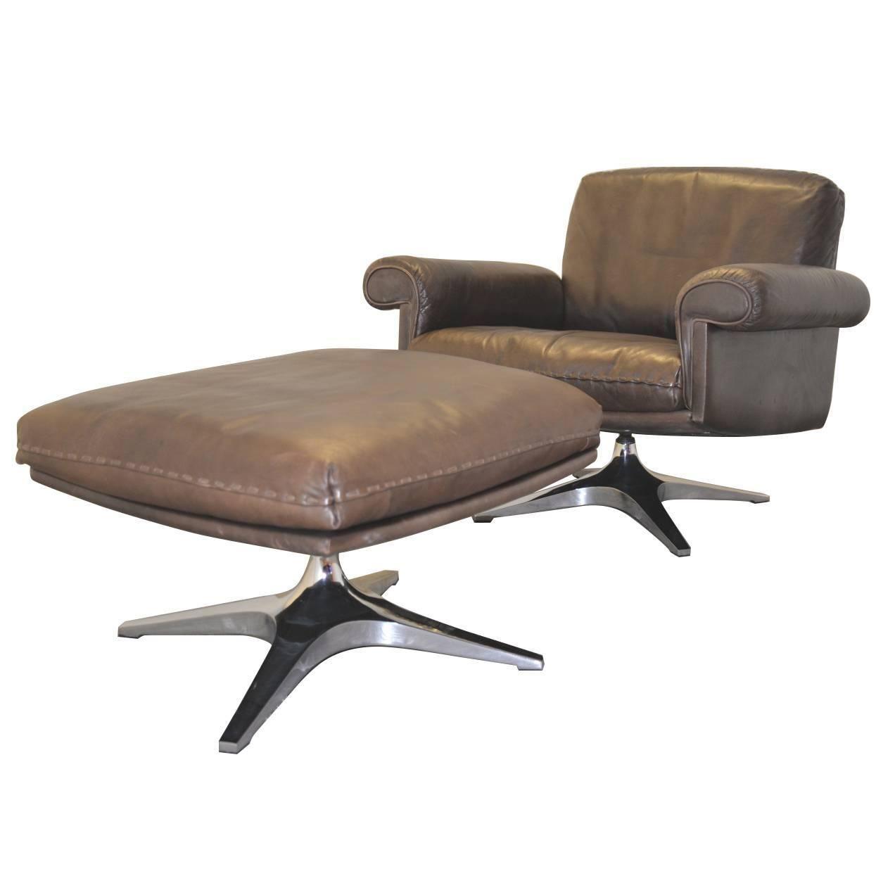 Vintage 1970s De Sede Ds 31 Swivel Lounge Club Armchair And