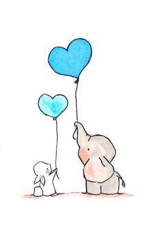 Flying Hearts Turquoise.  Nursery elephant bunny by ohhellodear, $20.00