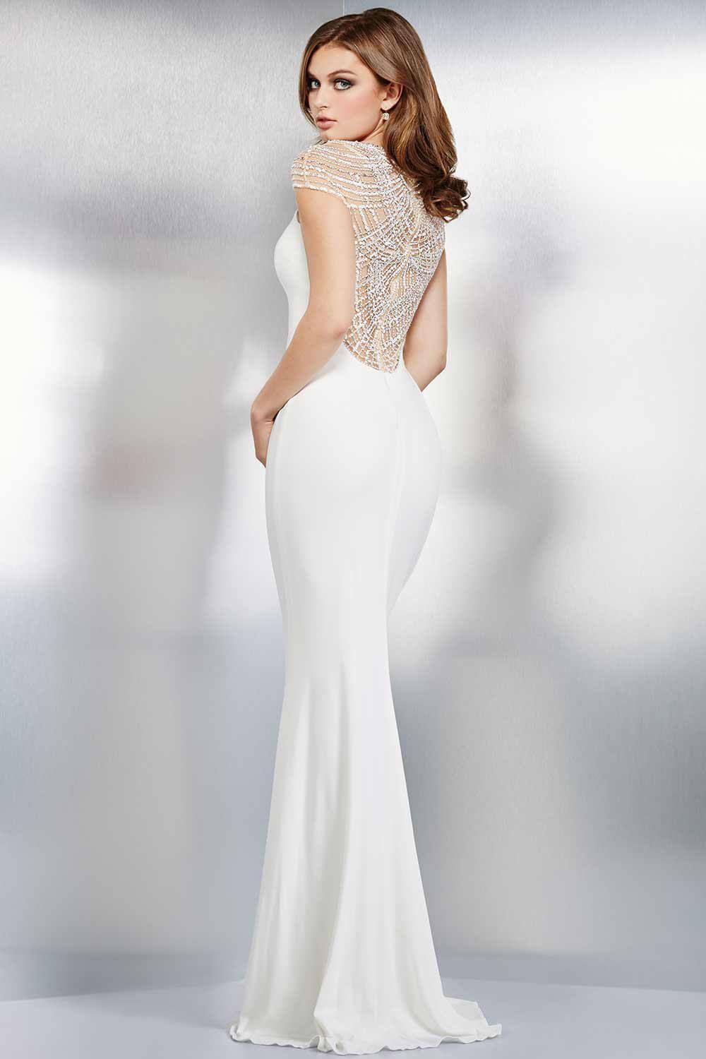 Sexy white fitted jersey dress evening dresses bridal