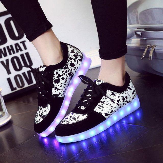 Lovers Luminous Shoes Unisex Led Shoes Adults Men Pu Basket Led Light Up Shoe Glowing Graffiti Sales Schoenen Met L Light Up Shoes Casual Shoes Women Led Shoes
