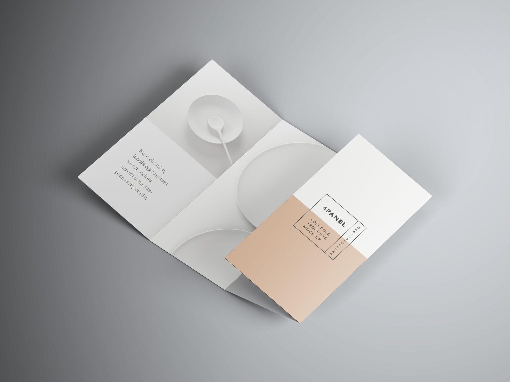 4 Panel Roll Fold Brochure Mockup Folletos, Panel