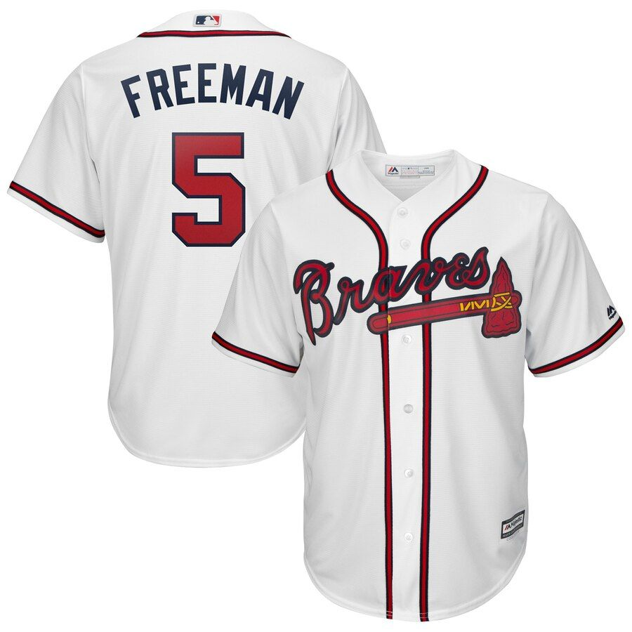 Men S Atlanta Braves Freddie Freeman Majestic White 2019 Home Official Cool Base Player Jersey Braves Jersey Atlanta Braves Jersey Atlanta Braves
