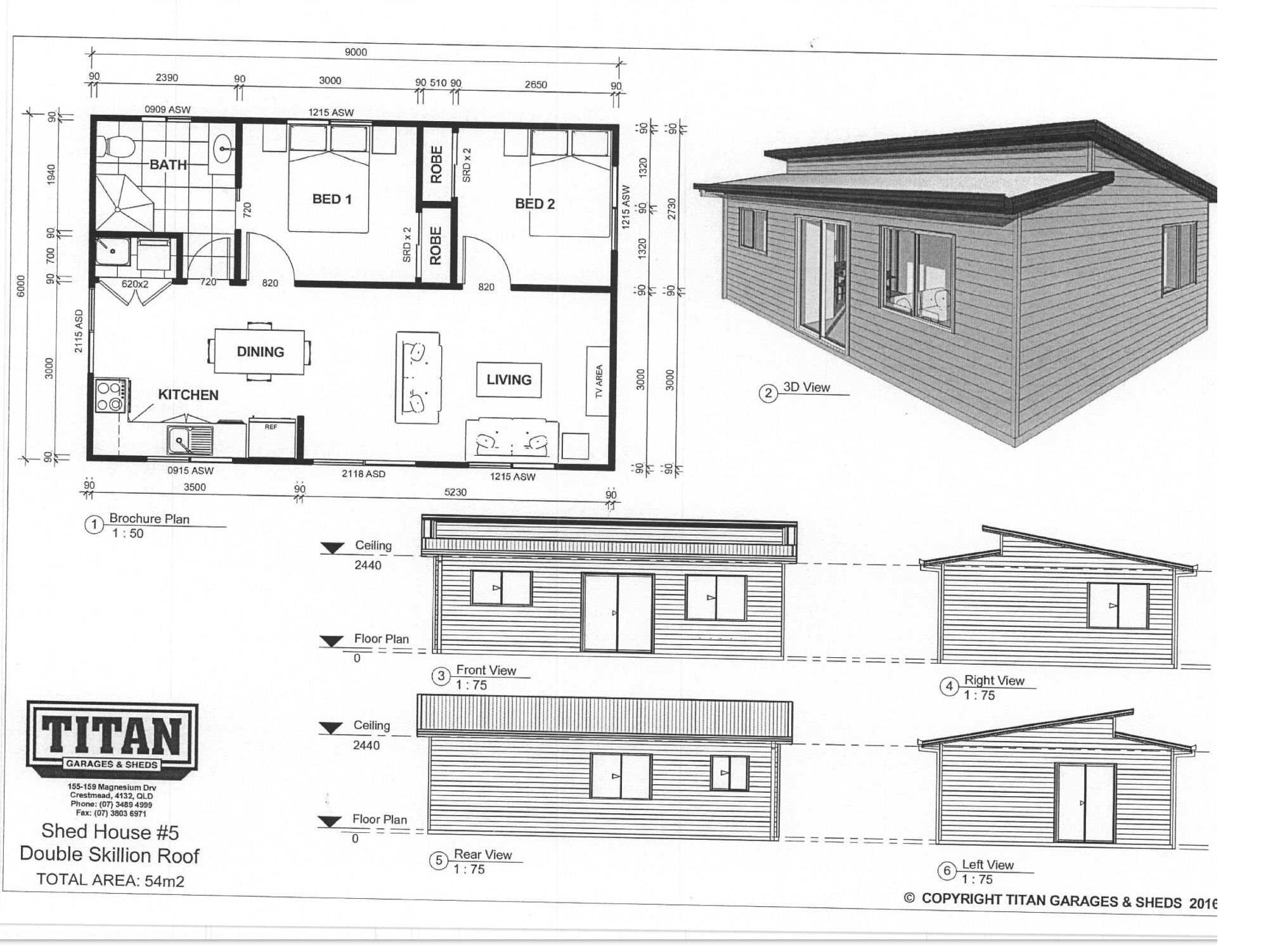 Titan Homes #5 Double Skillion Roof 54m2 www.titangaragesandsheds ...