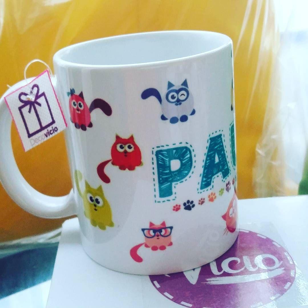 Un verdader@ #catlover debe tomar un desayuno con estilo !! Tazon cat personalizado con el nombre $4000  #decovicio