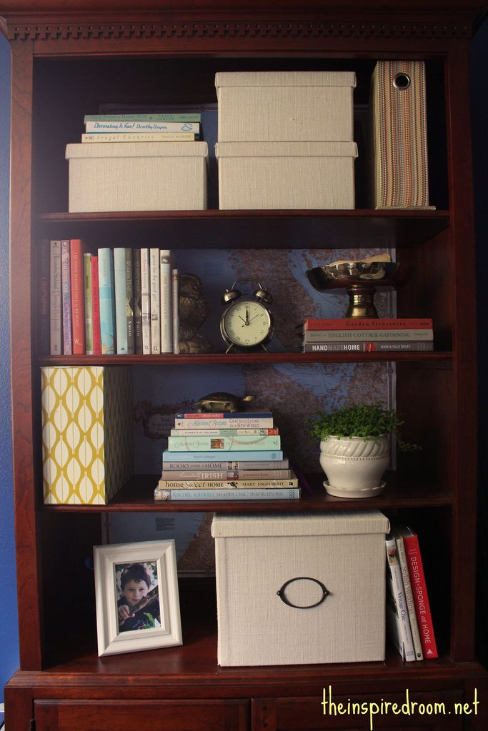 Lighten Up A Dark Bookcase Without Paint Home Office Makeover The Inspired Room