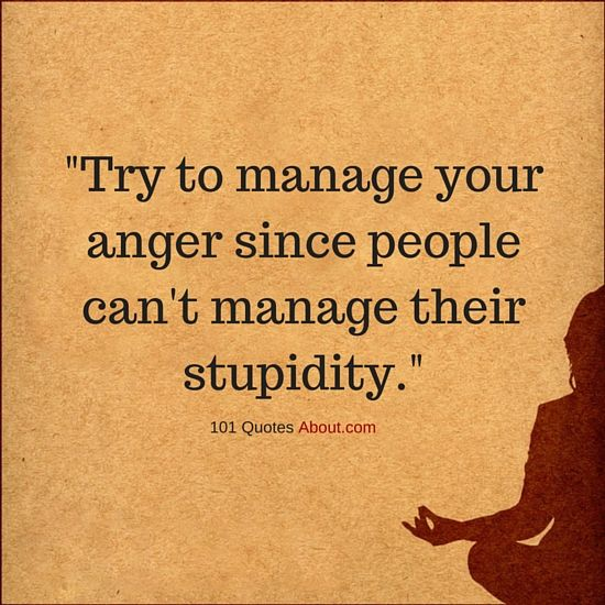 Anger Quotes Mesmerizing Try To Manage Your Anger Since People Can't Manage Their Stupidity . Review