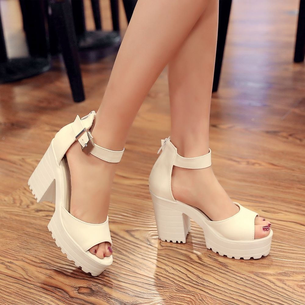 09bf165d7e3 Us4-11 Women Goth Cut Out Peep Toe Block Heel Sandals Ankle Strappy Roman  Chunky
