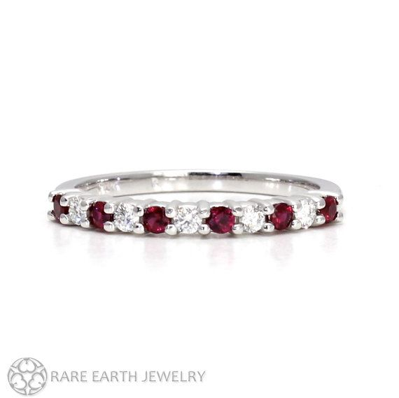 Ruby Ring Band Diamond Anniversary Stacking Wedding July Birthstone Platinum Or Palladium