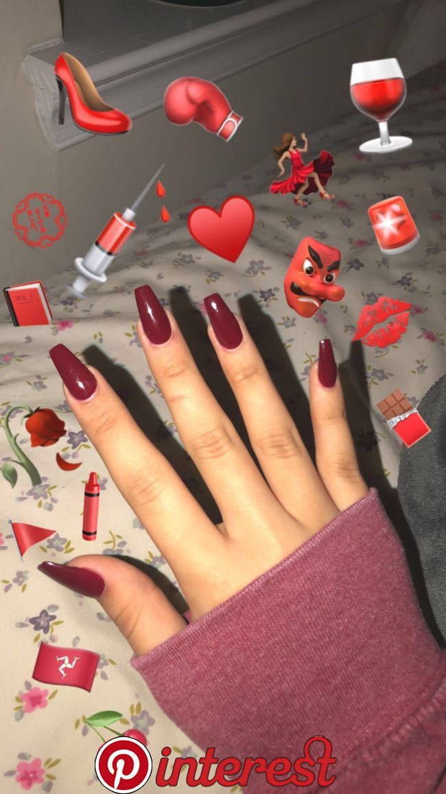 Maroon Coffin Nails Acrylics In 2019 Coffin Nails Nails Gel Nails Red Acrylic Nails Maroon Nails Maroon Acrylic Nails