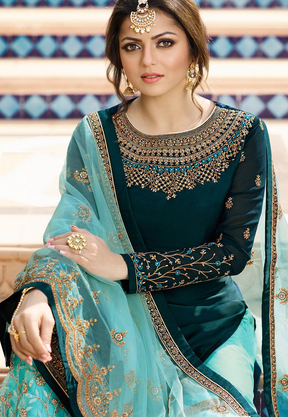 Drashti dhami blue satin georgette embroidered sharara style suit 3602 in 2020 | Indian designer ...